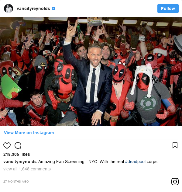 Instagram post by vancityreynolds: Amazing Fan Screening - NYC. With the real #deadpool corps...