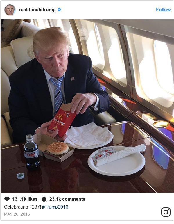 Publicación de Instagram por realdonaldtrump: Celebrating 1237! #Trump2016