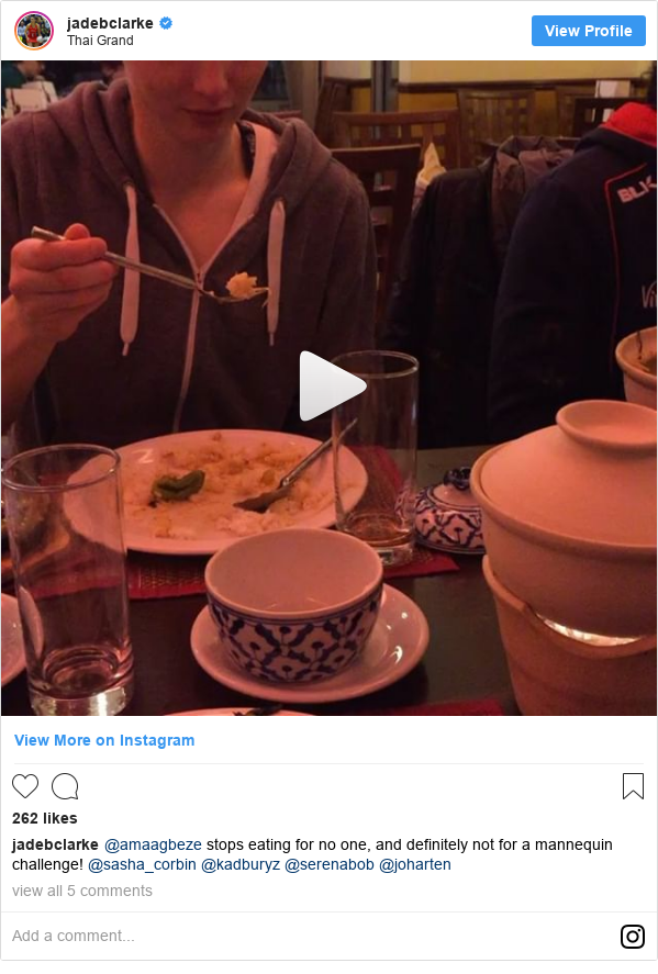 Instagram post by jadebclarke: @amaagbeze stops eating for no one, and definitely not for a mannequin challenge! @sasha_corbin @kadburyz @serenabob @joharten