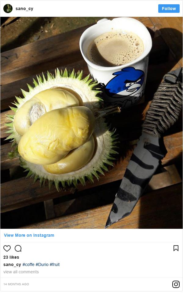Instagram pesan oleh sano_cy: #coffe #Durio  #fruit