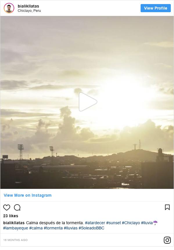 Publicación de Instagram por bialikllatasfotografo: Calma después de la tormenta. #atardecer #sunset #Chiclayo #lluvia☔ #lambayeque #calma #tormenta #lluvias #SoleadoBBC