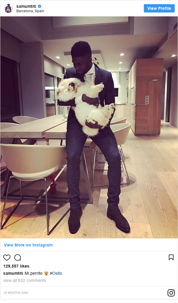Ujumbe wa Instagram wa samumtiti: Mi perrito 🐶 #Osito