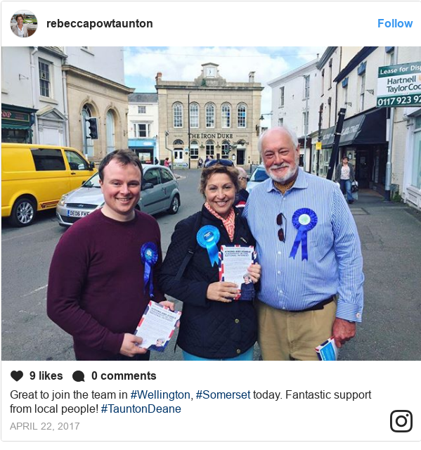 Instagram post by rebeccapowtaunton: Great to join the team in #Wellington, #Somerset today. Fantastic support from local people! #TauntonDeane