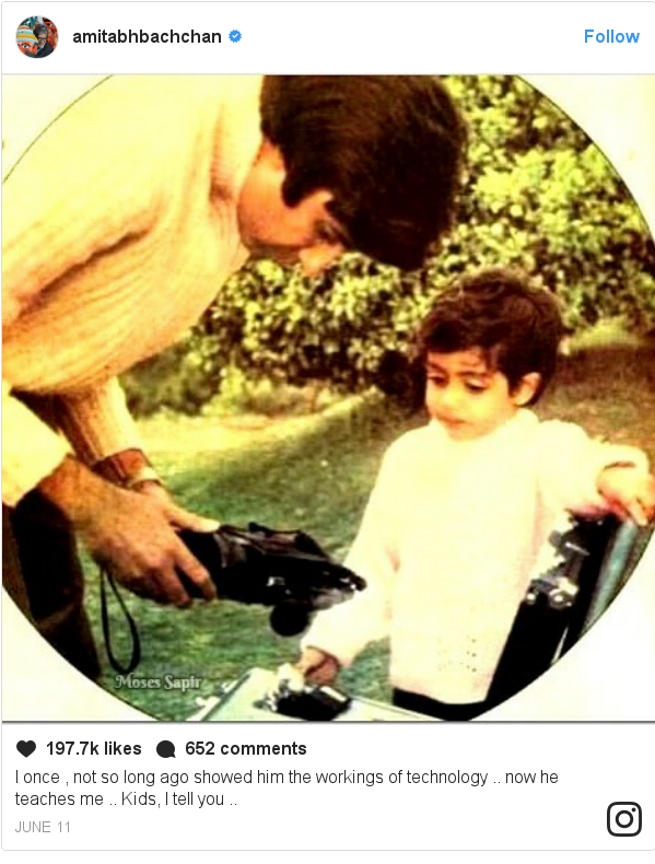 Instagram post by amitabhbachchan: I once , not so long ago showed him the workings of technology .. now he teaches me .. Kids, I tell you ..