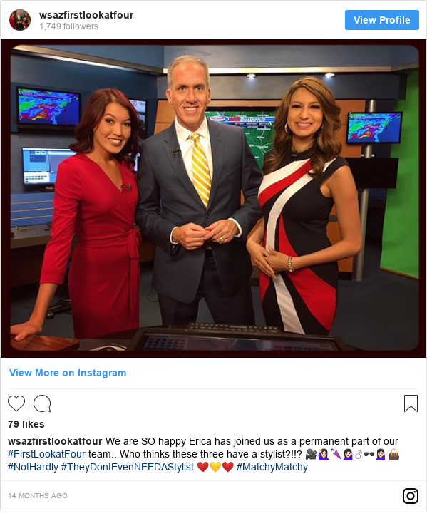 Instagram post by wsazfirstlookatfour: We are SO happy Erica has joined us as a permanent part of our #FirstLookatFour team.. Who thinks these three have a stylist?!!? 🎥🙋🏻🌂💁🏻♂️🕶💁🏻👜 #NotHardly #TheyDontEvenNEEDAStylist ❤️💛❤️ #MatchyMatchy