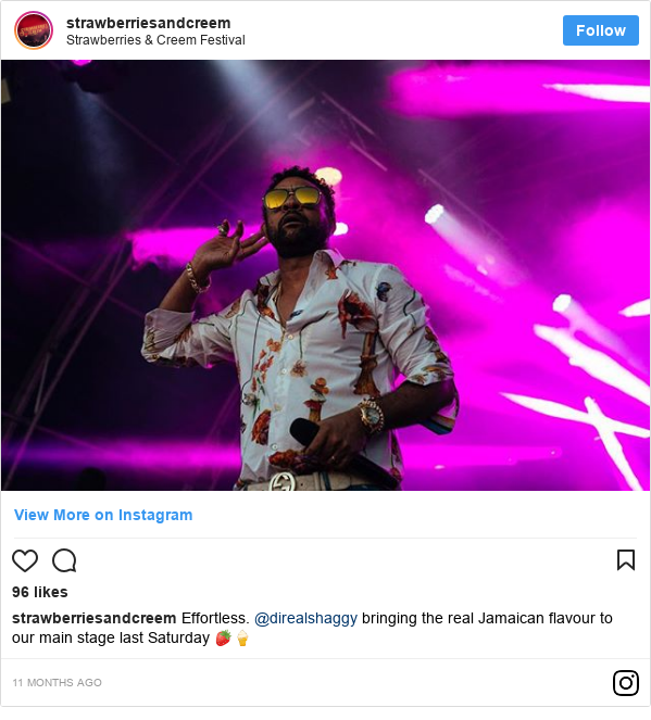 Instagram post by strawberriesandcreem: Effortless. @direalshaggy bringing the real Jamaican flavour to our main stage last Saturday 🍓🍦