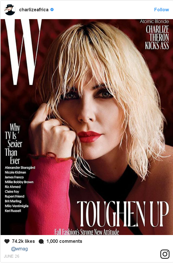 Instagram post by charlizeafrica: 😘🙏@wmag