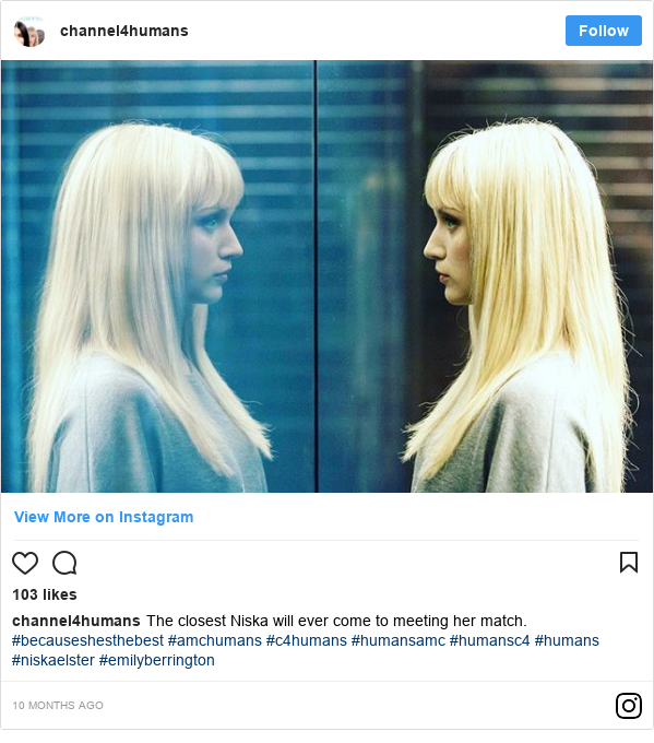 Instagram post by channel4humans: The closest Niska will ever come to meeting her match. #becauseshesthebest  #amchumans #c4humans #humansamc #humansc4 #humans #niskaelster #emilyberrington