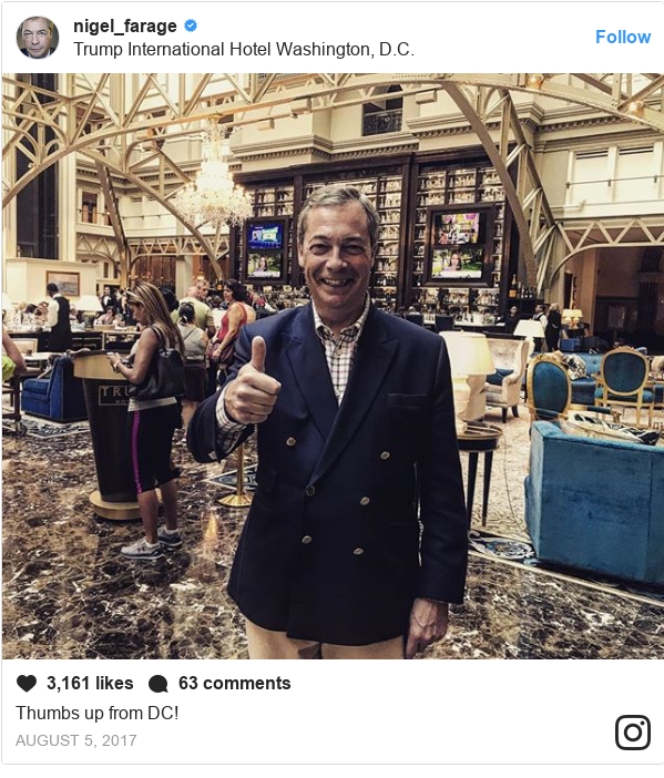 Instagram post by nigel_farage: Thumbs up from DC!