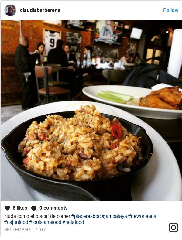 Publicación de Instagram por claudiabarberena: Nada como el placer de comer #placeresbbc #jambalaya #neworleans #cajunfood #louisianafood #nolafood