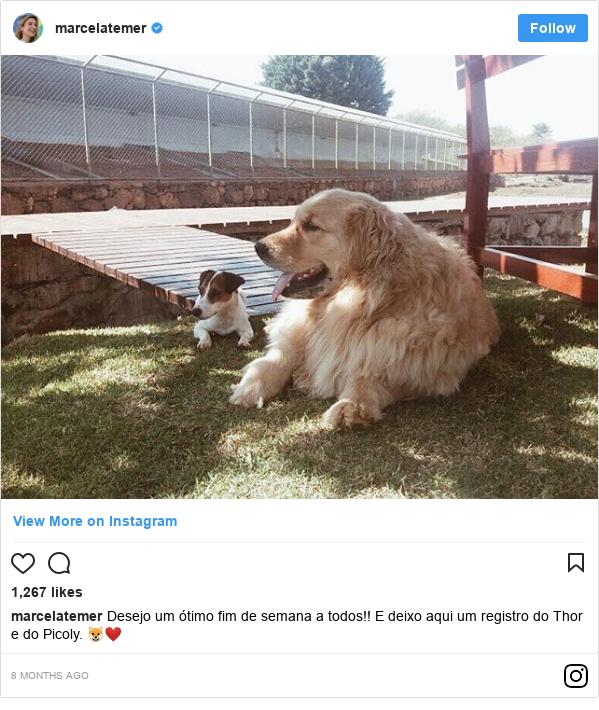 Instagram post by marcelatemer: Desejo um ótimo fim de semana a todos!! E deixo aqui um registro do Thor e do Picoly. 🐶❤️