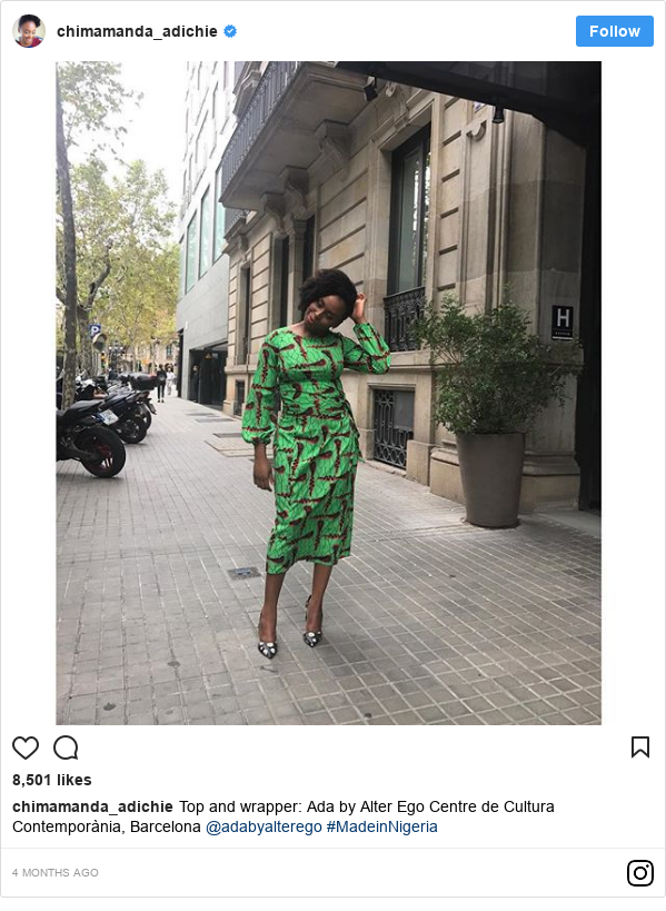 Instagram post by chimamanda_adichie: Top and wrapper  Ada by Alter Ego Centre de Cultura Contemporània, Barcelona @adabyalterego #MadeinNigeria