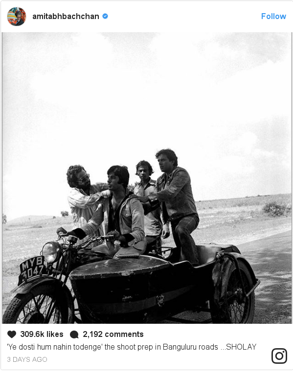 Instagram post by amitabhbachchan: 'Ye dosti hum nahin  todenge' the shoot prep in Banguluru roads ...SHOLAY