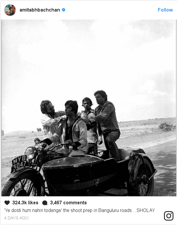 Instagram post by amitabhbachchan: 'Ye dosti hum nahin  todenge' the shoot prep in Banguluru roads ...SHOLAY