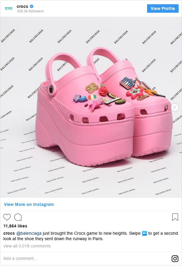 Instagram post by crocs: @balenciaga just brought the Crocs game to new heights. Swipe ⬅️ to get a second look at the shoe they sent down the runway in Paris.