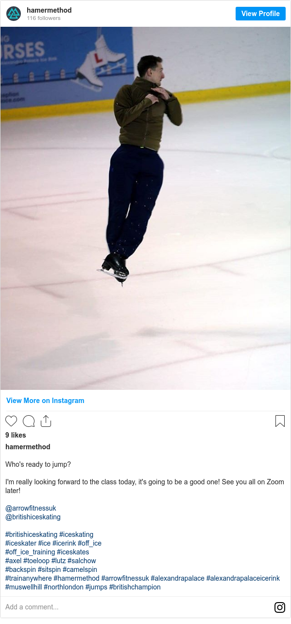 Instagram post by hamermethod: Who's ready to jump?  I'm really looking forward to the class today, it's going to be a good one! See you all on Zoom later!  @arrowfitnessuk @britishiceskating  #britishiceskating #iceskating #iceskater #ice #icerink #off_ice #off_ice_training #iceskates #axel #toeloop #lutz #salchow #backspin #sitspin #camelspin #trainanywhere #hamermethod #arrowfitnessuk #alexandrapalace #alexandrapalaceicerink #muswellhill #northlondon #jumps #britishchampion