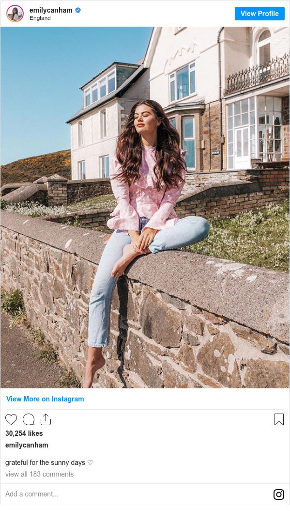 Instagram post by emilycanham: grateful for the sunny days ♡