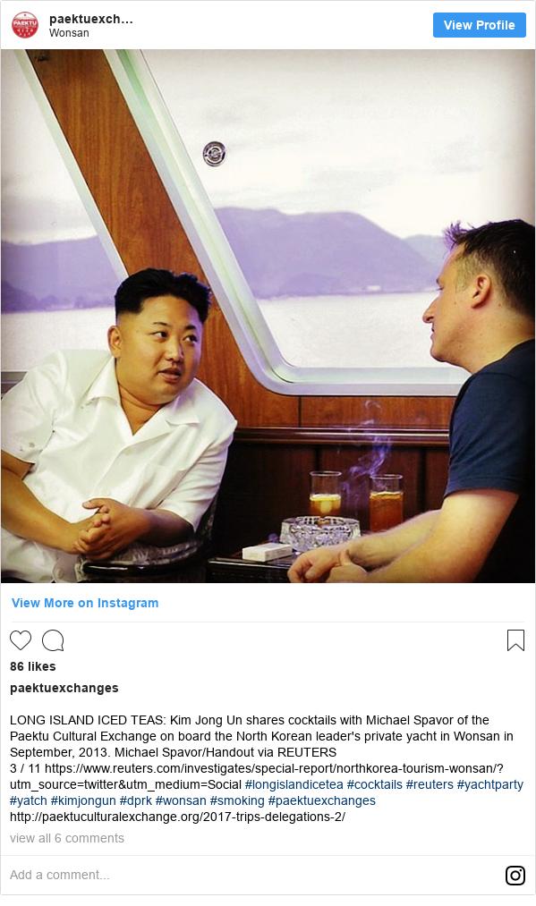 Publicación de Instagram por paektuexchanges: LONG ISLAND ICED TEAS  Kim Jong Un shares cocktails with Michael Spavor of the Paektu Cultural Exchange on board the North Korean leader's private yacht in Wonsan in September, 2013. Michael Spavor/Handout via REUTERS 3 / 11 https //www.reuters.com/investigates/special-report/northkorea-tourism-wonsan/?utm_source=twitter&utm_medium=Social #longislandicetea #cocktails #reuters #yachtparty #yatch #kimjongun #dprk #wonsan #smoking #paektuexchanges  http //paektuculturalexchange.org/2017-trips-delegations-2/