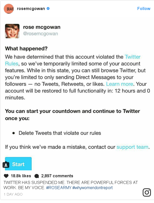Instagram pesan oleh rosemcgowan: TWITTER HAS SUSPENDED ME. THERE ARE POWERFUL FORCES AT WORK. BE MY VOICE. #ROSEARMY #whywomendontreport