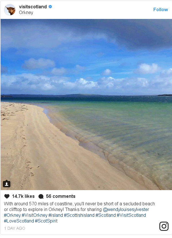 Instagram post by visitscotland: With around 570 miles of coastline, you'll never be short of a secluded beach or clifftop to explore in Orkney! Thanks for sharing @wendylouisesylvester 👌  #Orkney #VisitOrkney #island #Scottishisland #Scotland #VisitScotland #LoveScotland #ScotSpirit