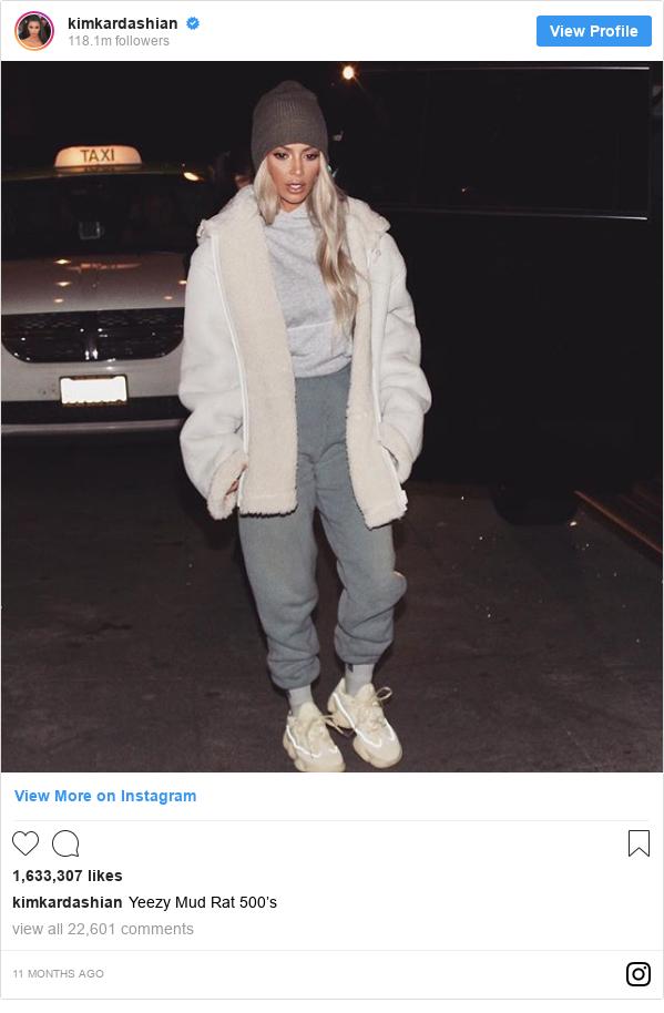 Instagram post by kimkardashian: Yeezy Mud Rat 500's