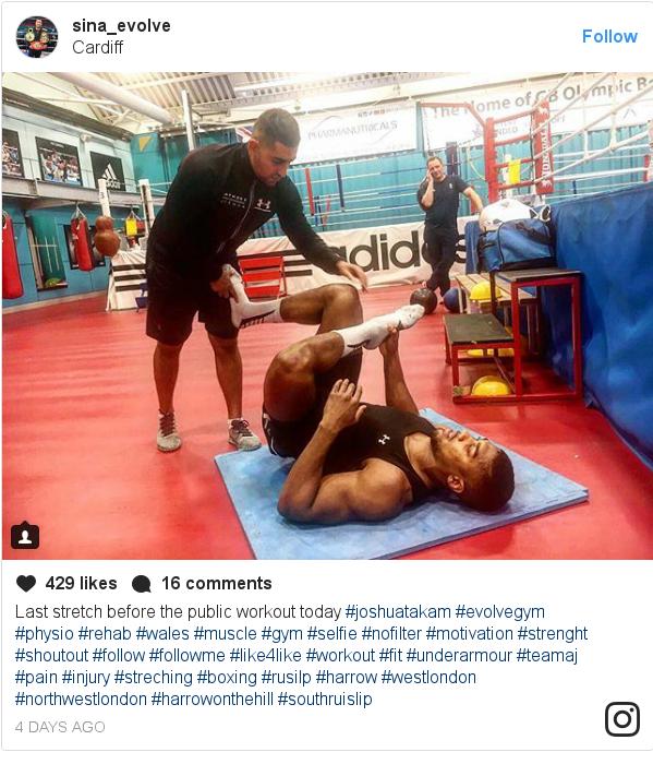 پست اینستاگرام از sina_evolve: Last stretch before the public workout today  #joshuatakam  #evolvegym  #physio #rehab  #wales #muscle #gym  #selfie  #nofilter  #motivation  #strenght  #shoutout  #follow  #followme  #like4like  #workout  #fit  #underarmour #teamaj #pain #injury #streching  #boxing #rusilp  #harrow  #westlondon  #northwestlondon  #harrowonthehill  #southruislip