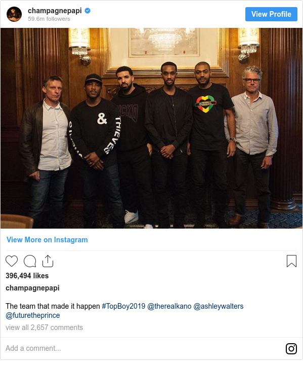Instagram post by champagnepapi: The team that made it happen #TopBoy2019 @therealkano @ashleywalters @futuretheprince