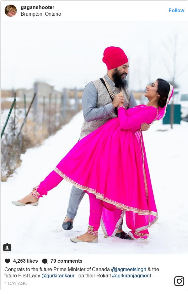 Instagram post by gaganfinephotos: Congrats to the future Prime Minister of Canada @jagmeetsingh & the future First Lady @gurkirankaur_ on their Roka!! #gurkiranjagmeet
