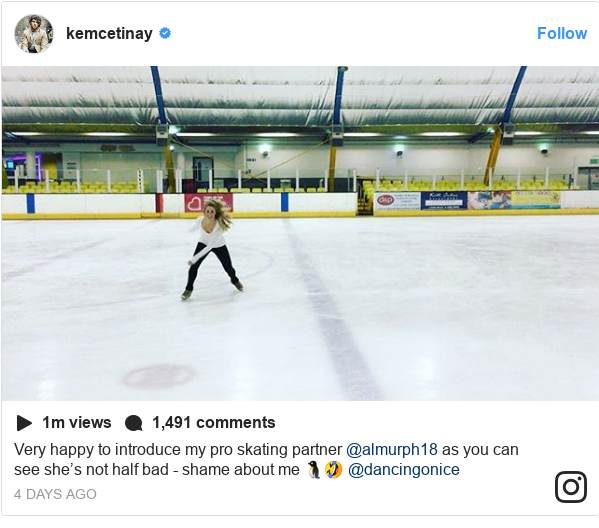 Instagram post by kemcetinay: Very happy to introduce my pro skating partner @almurph18 as you can see she's not half bad - shame about me 🐧🤣 @dancingonice