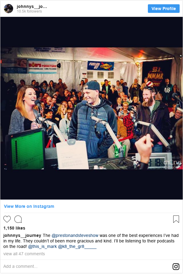 Instagram post de johnnys__journey: The @prestonandsteveshow was one of the best experiences I've had in my life. They couldn't of been more gracious and kind. I'll be listening to their podcasts on the road! @this_is_mark @k8_the_gr8_____