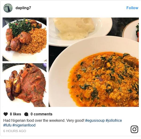 Instagram post by dapling7: Had Nigerian food over the weekend.  Very good!  #egusisoup #jollofrice #fufu #nigerianfood