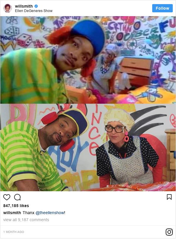 Instagram post by willsmith: Thanx @theellenshow!