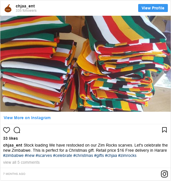 Ujumbe wa Instagram wa chjaa_ent: Stock loading  We have restocked on our Zim Rocks  scarves. Let's celebrate the new Zimbabwe.  This is perfect for a Christmas gift.  Retail price $16  Free delivery in Harare  #zimbabwe #new #scarves #celebrate #christmas #gifts #chjaa #zimrocks