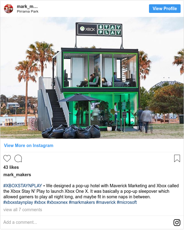 Instagram пост, автор: mark_makers: #XBOXSTAYNPLAY • We designed a pop-up hotel with Maverick Marketing and Xbox called the Xbox Stay N' Play to launch Xbox One X. It was basically a pop-up sleepover which allowed gamers to play all night long, and maybe fit in some naps in between. #xboxstaynplay #xbox #xboxonex #markmakers #maverick #microsoft