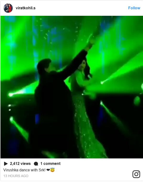 انسٹا گرام پوسٹس viratkohli.s کے حساب سے: Virushka dance with Srk! ❤😇