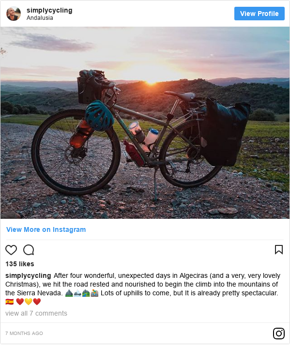 Instagram post de simplycycling: After four wonderful, unexpected days in Algeciras (and a very, very lovely Christmas), we hit the road rested and nourished to begin the climb into the mountains of the Sierra Nevada. ⛰️🏔️🏞️🚵 Lots of uphills to come, but It is already pretty spectacular. 🇪🇸 ❤️💛❤️