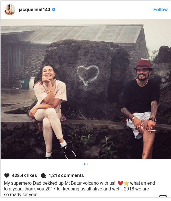 Instagram post by jacquelinef143: My superhero Dad trekked up Mt Batur volcano with us!! ❤️⭐️ what an end to a year.. thank you 2017 for keeping us all alive and well.. 2018 we are so ready for you!!