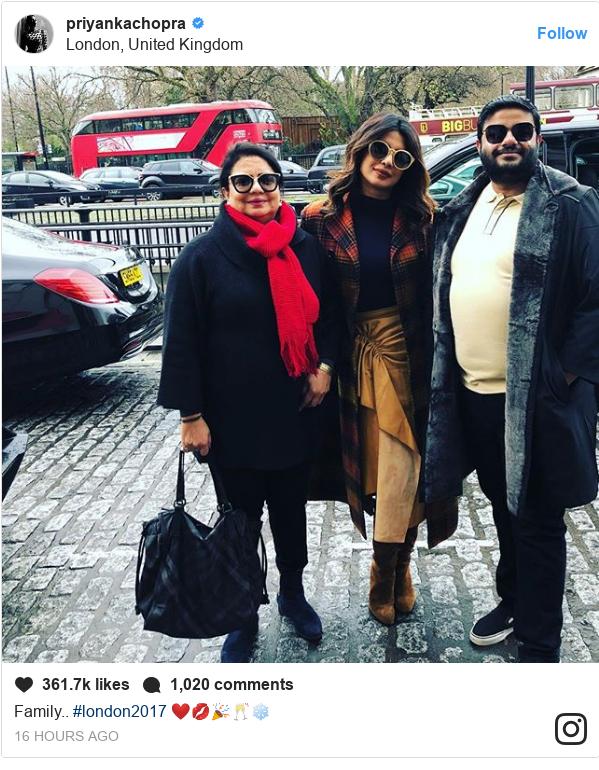 Instagram post by priyankachopra: Family.. #london2017 ❤️💋🎉🥂❄️