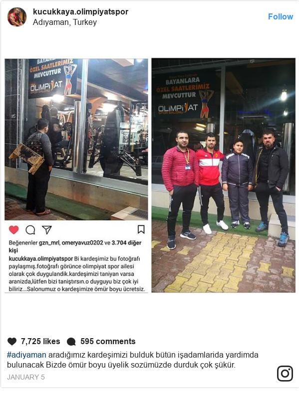 kucukkaya.olimpiyatspor tərəfindən edilən Instagram paylaşımı: #adiyaman aradığımız kardeşimizi bulduk bütün işadamlarida yardimda bulunacak Bizde ömür boyu üyelik sozümüzde durduk çok şükür.