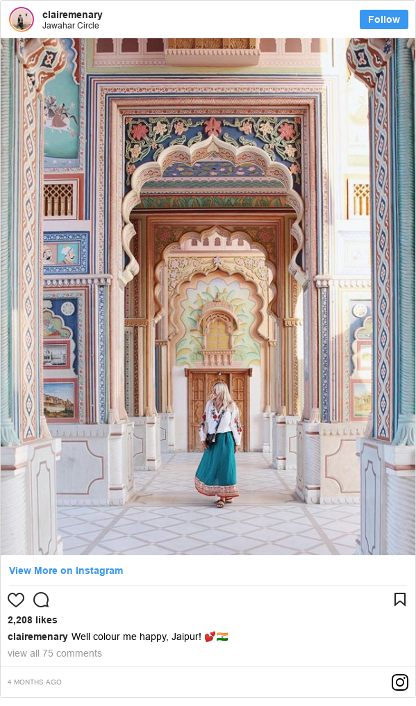 Instagram post by clairemenary: Well colour me happy, Jaipur! 💕🇮🇳