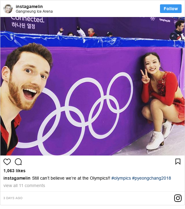 Instagram post by instagamelin: Still can't believe we're at the Olympics!! #olympics #pyeongchang2018