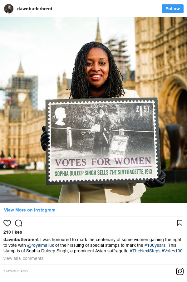 Instagram post by dawnbutlerbrent: I was honoured to mark the centenary of some women gaining the right to vote with @royalmailuk of their issuing of special stamps to mark the #100years. This stamp is of Sophia Duleep Singh, a prominent Asian suffragette #TheNextSteps #Votes100