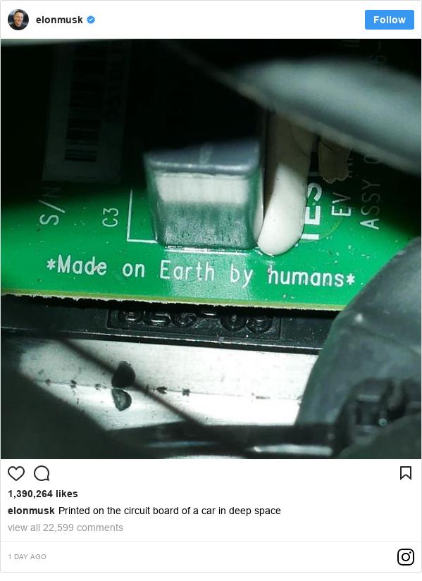 Instagram допис, автор: elonmusk: Printed on the circuit board of a car in deep space