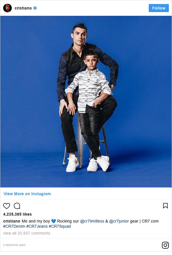 Instagram wallafa daga cristiano: Me and my boy 💙 Rocking our @cr7limitless & @cr7junior gear | CR7.com #CR7Denim #CR7Jeans #CR7Squad