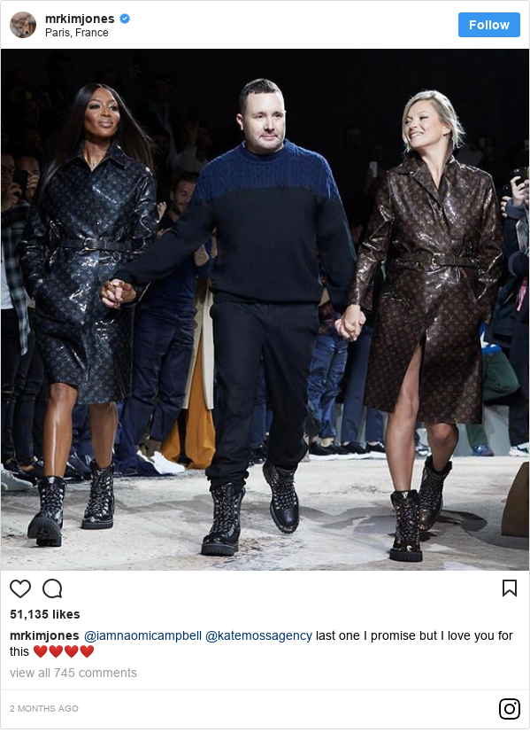Instagram post by mrkimjones: @iamnaomicampbell @katemossagency last one I promise but I love you for this ❤️❤️❤️❤️