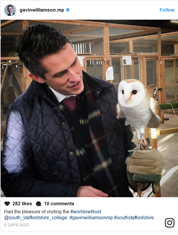 Instagram post by gavinwilliamson.mp: Had the pleasure of visiting the #worldowltrust @south_staffordshire_college. #gavinwilliamsonmp #southstaffordshire
