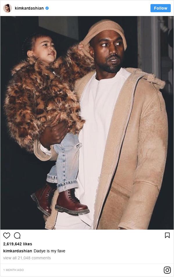انسٹا گرام پوسٹس kimkardashian کے حساب سے: Dadye is my fave