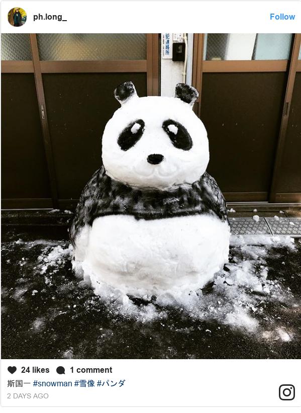 Instagram post by ph.long_: 斯国一 #snowman #雪像 #パンダ
