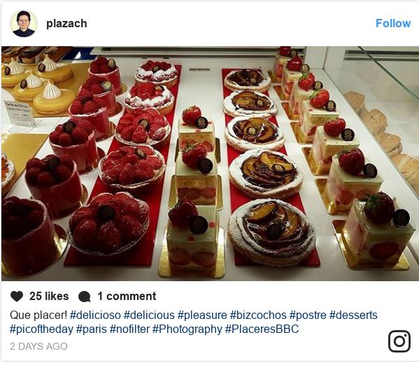 Publicación de Instagram por plazach: Que placer!  #delicioso #delicious #pleasure #bizcochos #postre #desserts #picoftheday #paris #nofilter #Photography #PlaceresBBC