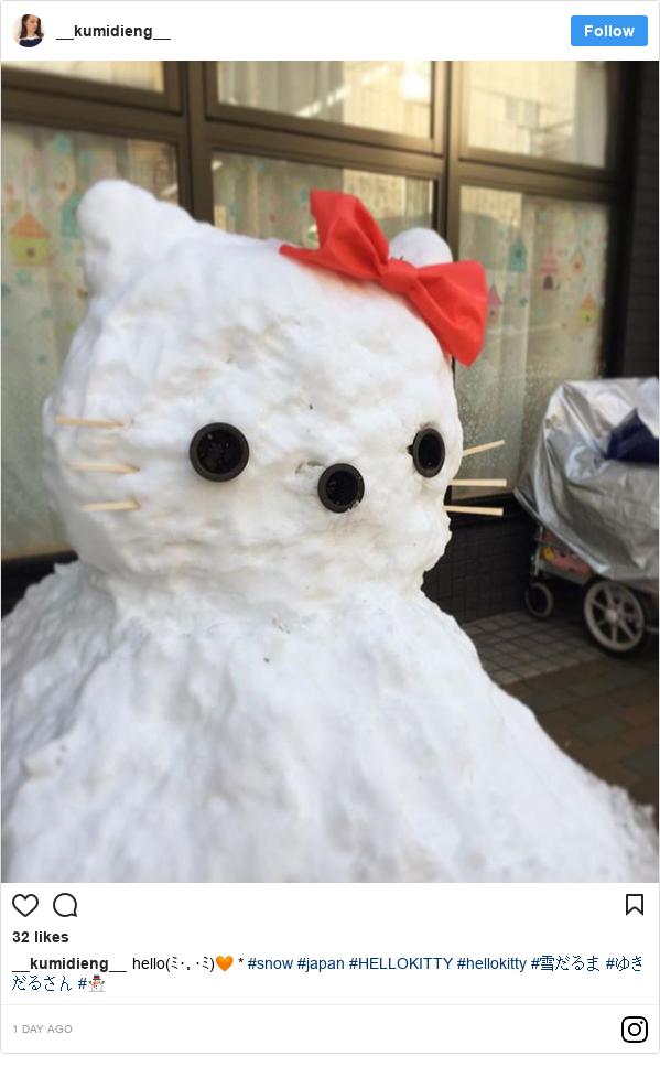 Instagram 用户名 __kumidieng__: hello(ミ・。・ミ)🧡 * #snow #japan #HELLOKITTY #hellokitty #雪だるま #ゆきだるさん #⛄️